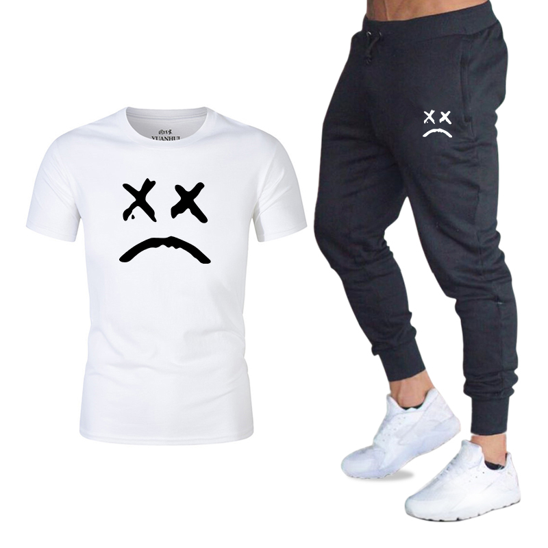 2020 Summer Men's T-shirt Shorts Set Printed Summer Men's High Quality Cotton Shorts + T-shirt Men's 2-piece Fitness Suit