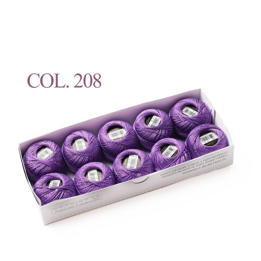 10 коробка с шариками Размер 8 жемчуг Хлопок нитки для вязания 43 ярдов двойная Мерсеризация длинный штапель из египетского хлопка 79 DMC цвета - Цвет: 208