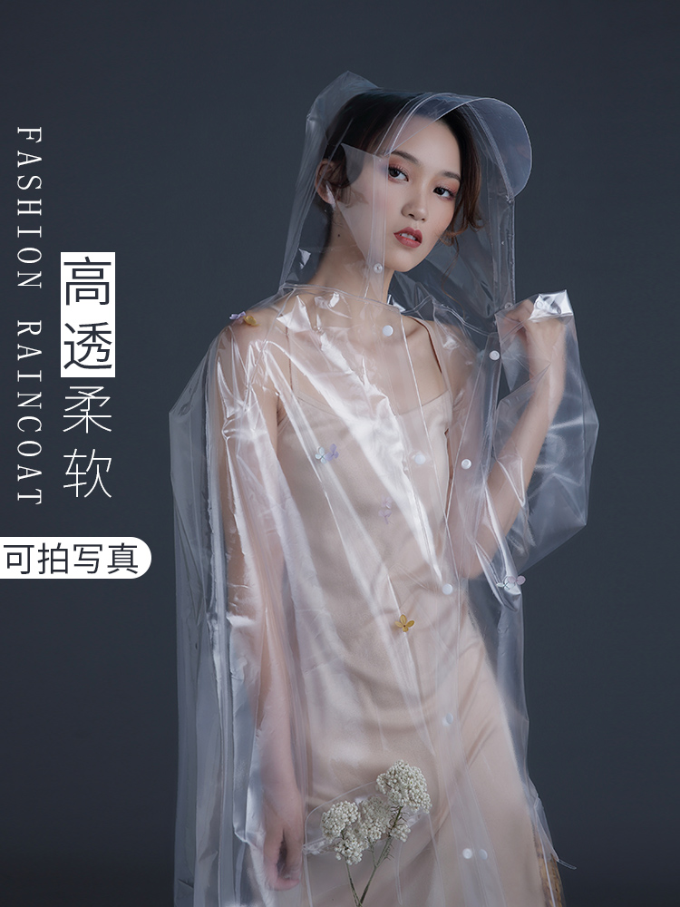 Nylon Jacket Raincoat Women Waterproof Transparent Ladies Hooded Raincoat Portable Stylish Capa De Chuva Rain Women JJ60YY