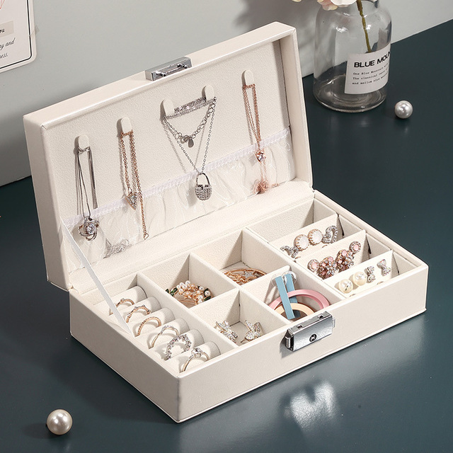 Casegrace Jewelry Organizer for Women PU Leather Jewelry Display Box Packaging with Lock for Earrings Bracelets Necklaces Rings