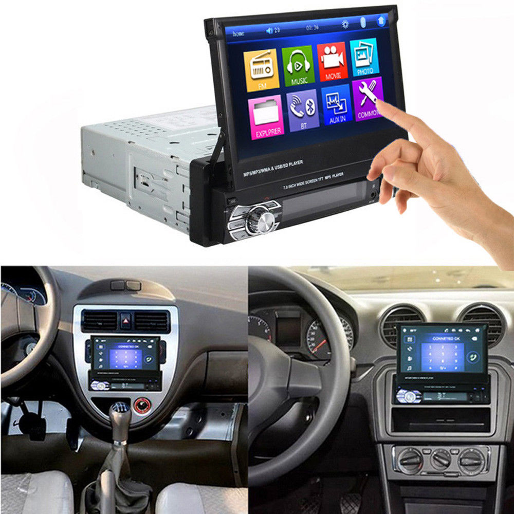 Hikity Podofo 1din Car Radio MP5 Player GPS Navigation Multimedia Car Audio Stereo Bluetooth 7 HD Retractable Autoradio Camera - 6