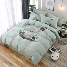 Liv-Esthete Lovely Koala Cartoon Bedding Set Green Duvet Cover Bedspread Flat Sheet Double Queen King Bed Linen For Adult Kids