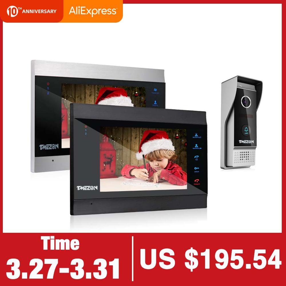 TMEZON 7 Inch Wireless Wifi Smart IP Video Door Phone Intercom System With 2 Night Vision Monitor + 1 Rainproof Doorbell Camera
