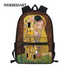 Kiss-Printed-Bag Mochilas Daypack Teenagers Women The WHEREISART for Travel Mujer Rugzak