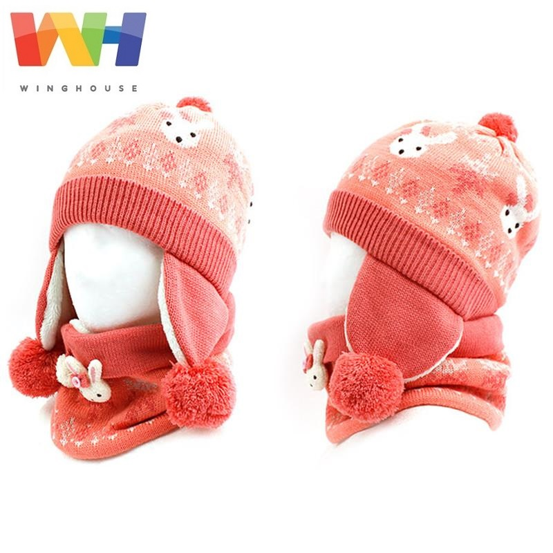 Korean Winghouse Children Hat Muffler Suit Cute Rabbit Hat Girl Autumn Winter Outdoor Equipment Warm Knit Scarf Earflap Cap