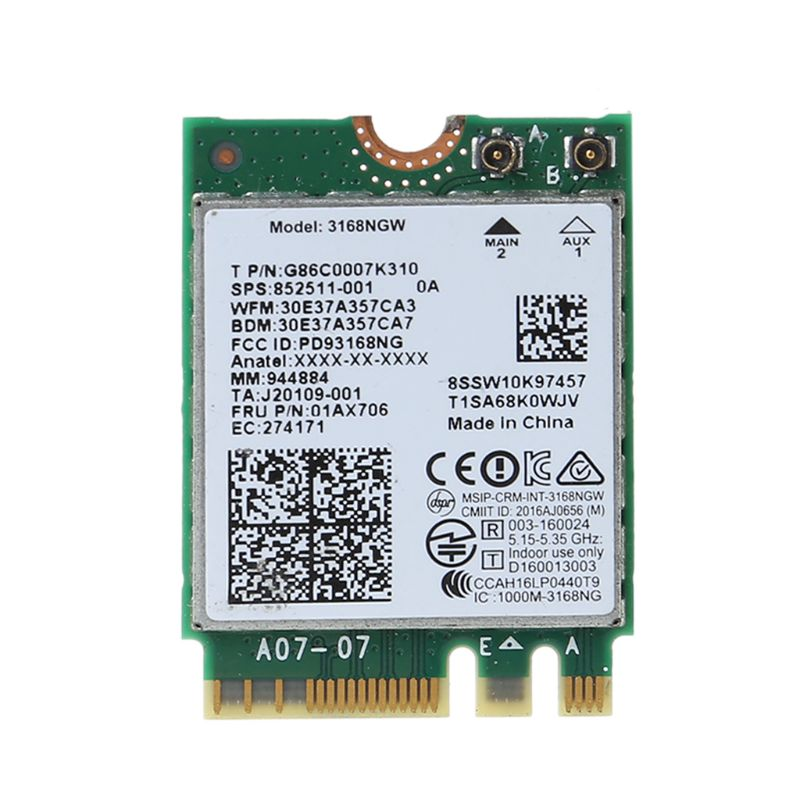 For Intel 3168 AC 3168NGW NGFF M.2 802.11ac Wireless Wifi Card Dual Band Adapter