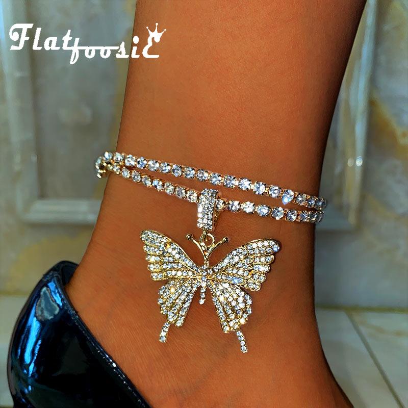 Женский теннисный браслет Flatfoosie, украшенный большими бабочками, с подвеской в виде бабочки, стразы, украшение для ног