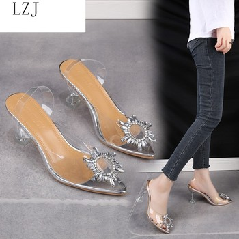 LZJ 2020 Luxury Women Pumps 2020 Transparent High Heels Sexy Pointed Toe Slip-on Wedding Party Brand Fashion Shoes For Lady PVC