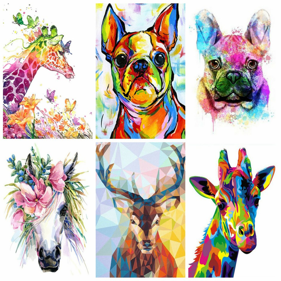AZQSD DIY Paint By Numbers Canvas Painting Kits Animal Oil Painting By Numbers Art Drawing 40x50cm Home Decor