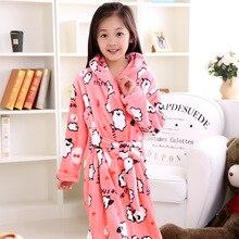 Утолщенные удлиненные Детские Банные халаты с рисунками животных для больших девочек, зимние фланелевые халаты, одежда для сна для девочек, детский банный Халат