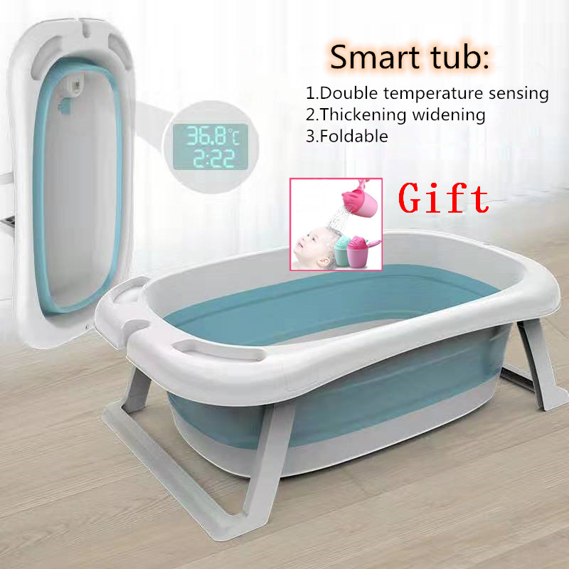 Foldable Baby Shower Tub With Thermometer Smart Temperature Sensing Infant Bath Tubs Baby Non-Slip Widen And Thicken Kid Bathtub