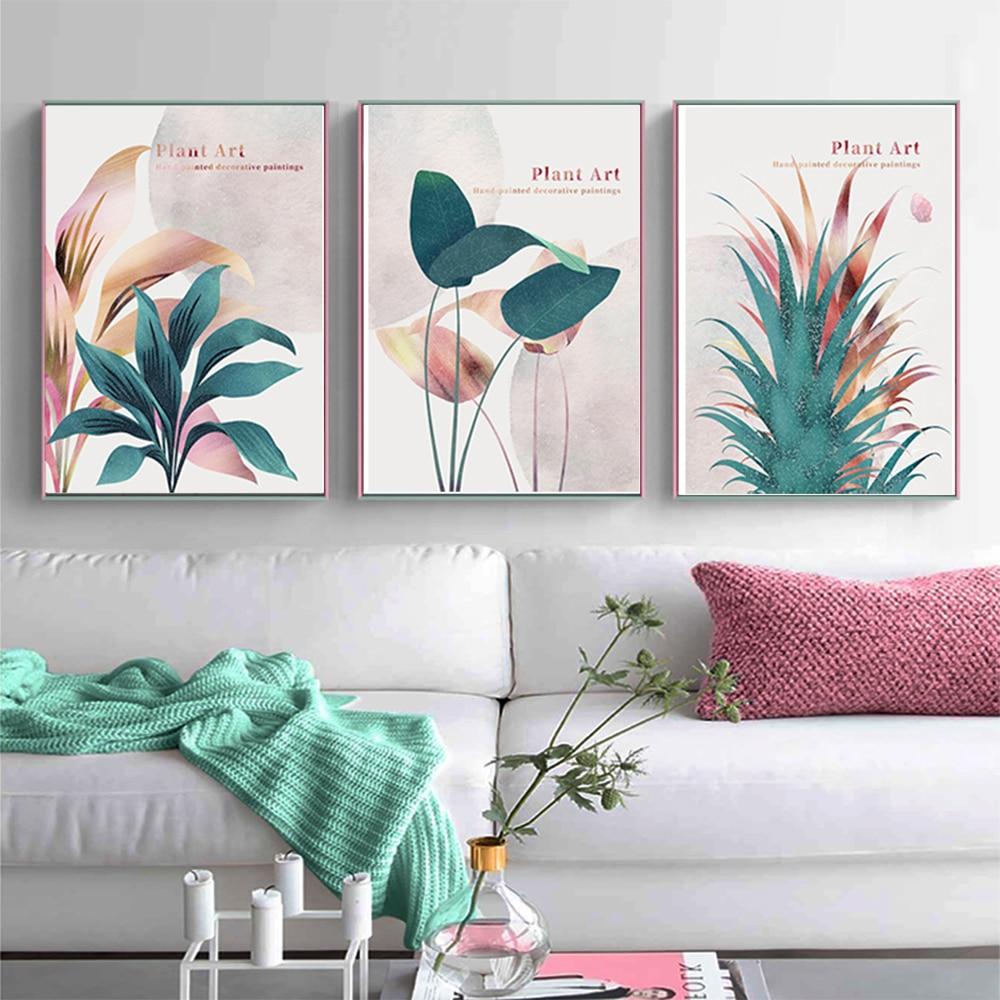 Настенный постер с изображением листьев и растений, скандинавские настенные постеры с абстрактным изображением лица и зеленой геометричес...