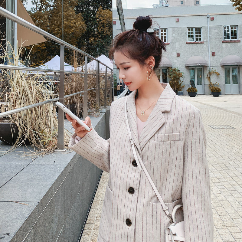2020 Spring New Herringbone Suit Jacket Casual Striped Lamb Wool Single-breasted Suit Jackets Women