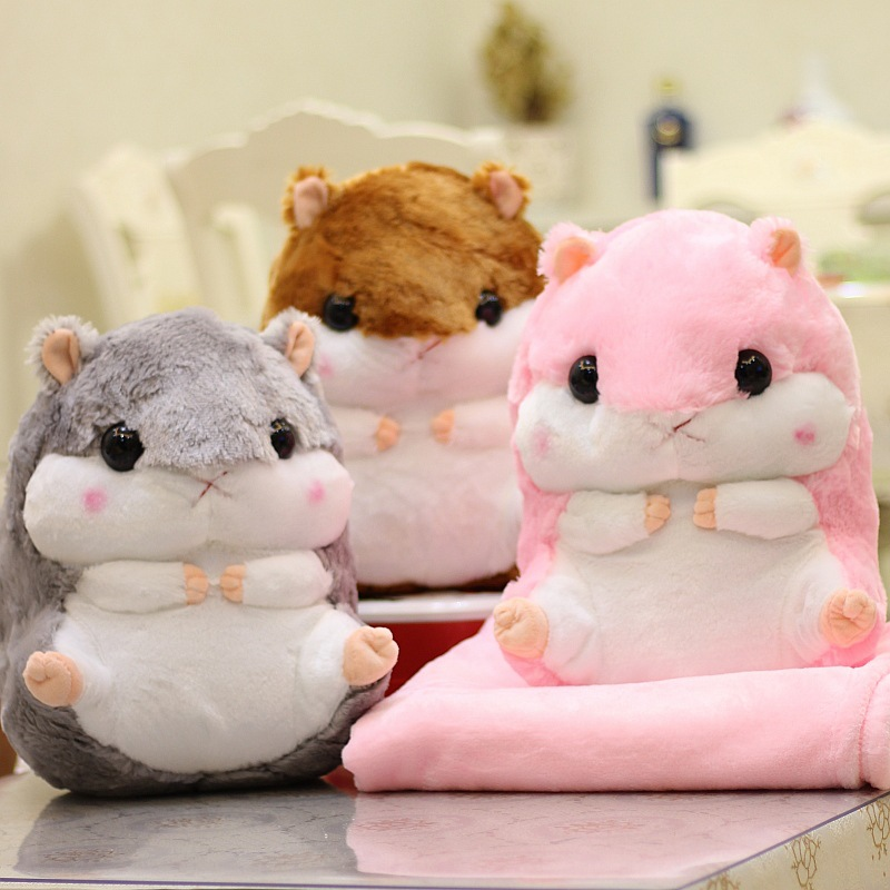 Fat Hamster Hand Warmer Pillow Blanket Dual Purpose Doll Large Size Doll Cute Super Adorable Plush Toys Doll Girl'S