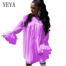 YEYA White Dress Fashion Sexy Off Shoulder Lace Dress Elegant Long Sleeve Vintage Lace Mini Dress Women Hollow Out Party Dresses missord 2019 women sexy lace off shoulder lantern sleeve dresses female elegant holiday mini dress ft19520