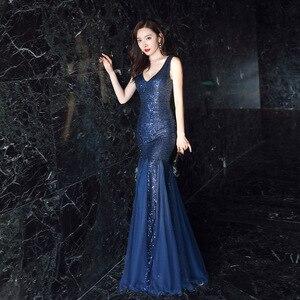 Image 2 - Женское вечернее платье русалка, Элегантное Длинное платье с глубоким v образным вырезом, украшенное блестками, с оборками, деловое платье, на лето, 2019