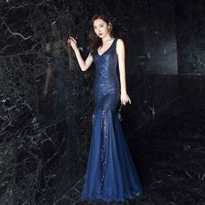 Image 2 - סקסי בת ים שמלת ערב עמוק V צוואר נצנצים ארוך שמלה אלגנטי Vestido דה פיאסטה Robe Ruffules פורמליות שמלת YNY 16538 #