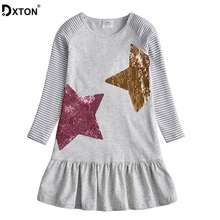 DXTON Girls Dresses With Sequin Long Sleeve Girl Winter Dress 2019 Christmas Children Clothing Stripe Casual Costume For