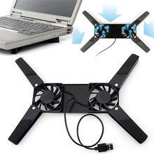 Настольная подставка для ноутбука с двойным охлаждающим вентилятором, подставка для ноутбука, складная подставка для ноутбука с USB, черный держатель