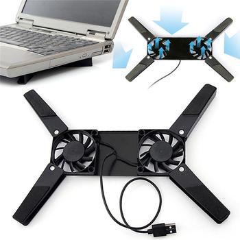 Biurko na laptopa obsługuje podwójny wentylator chłodzący komputer przenośny stojak składany uchwyt na półkę USB czarny nowość tanie i dobre opinie NoEnName_Null Laptop stand 17*6 5*2 2cm black