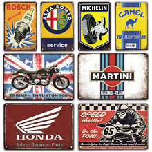 Ford Vespa Service Metal Plaque Emaille Bord Vintage Garage Man Cave Poster Decoratieve Platen Retro Metal Wall Art Decoratie(China)