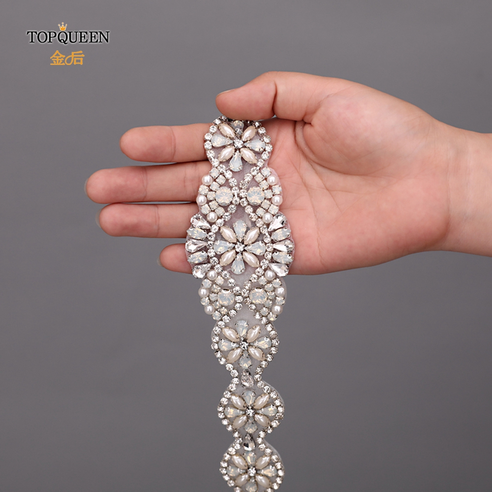 TOPQUEEN S161P Opal Wedding Belt Handmade Beaded Belt Versatile Daily Accessories Silver Rhinestone Belt Pearl Diamond Belt