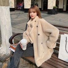 2022 Women Winter lambswool Fur Coat Loose Double Breasted Mink Fleece Fur Motorcycle Jacket Long Sleeve Outerwear Female H1835
