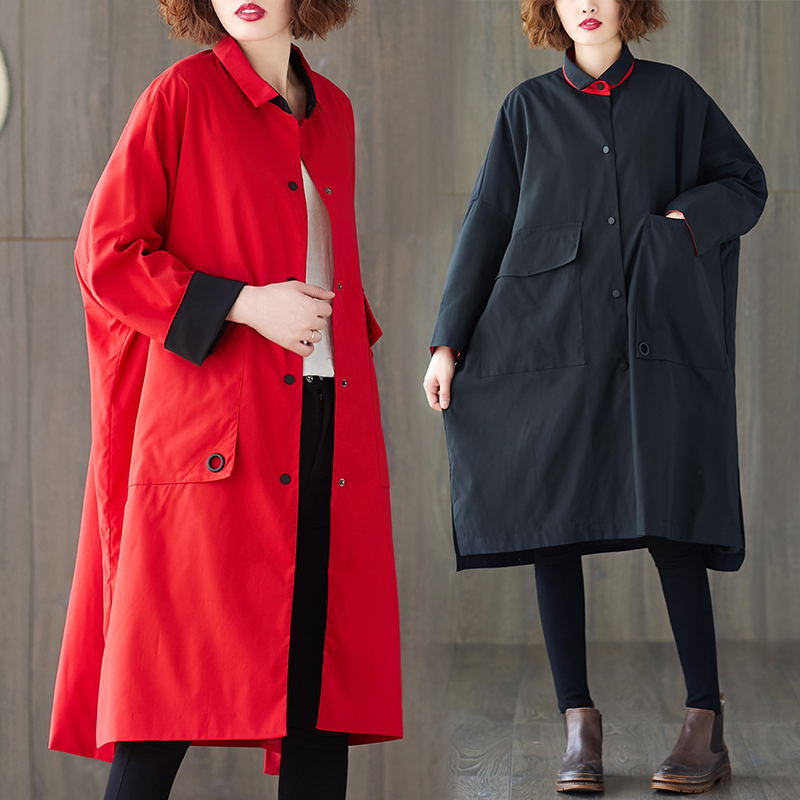 2020 Spring Autumn Coats New Korean Large Size Red Windbreaker Women's Loose Fashion Casual Long Trench Coats XA425