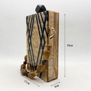 Image 5 - New Fashion Designer Geometry Splice Print Acrylic Evening Clutch Bags  Unique Personality Women Shoulder Bag Handbags Wallet