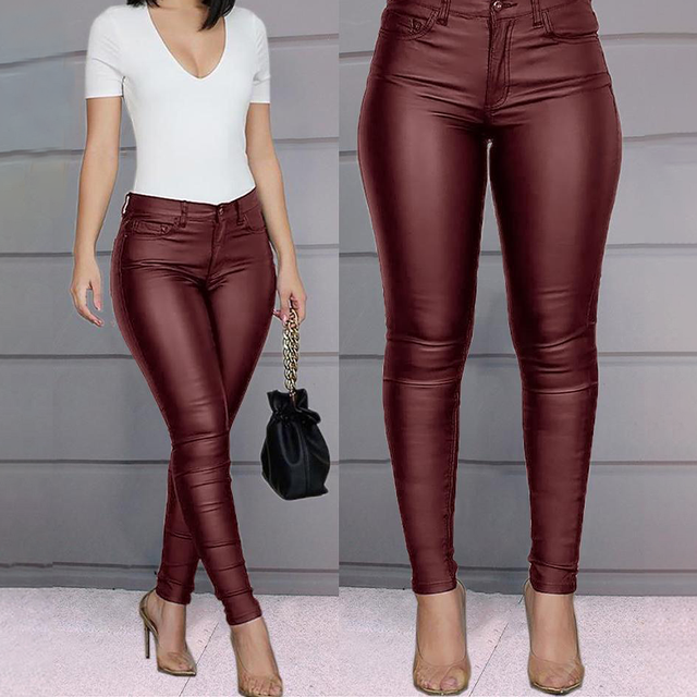 Spring Women Pu Leather Pants Black Sexy Stretch Bodycon Trousers High Waist Long Casual Pencil S-3XL Winter 1