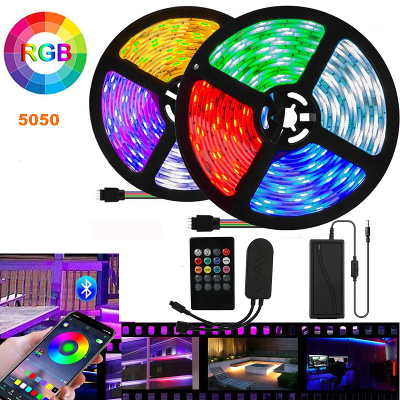 LED strip waterproof red blue white color tape tira led <font><b>5050</b></font> music light <font><b>10</b></font> m wifi light 20m flexible bluetooth led strip stripe image
