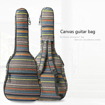 40/41'' Retro Ethnic Canvas Acoustic Guitar Backpack 10mm Double Straps 2 Handle Padded Guitar Soft Case Gig Bag Backpack buckle straps flap canvas backpack