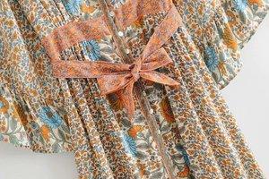 Image 3 - Robe Maxi, style bohème, imprimé Floral, Vintage, chic, imprimé Floral, boutonnage simple, col en V, ceinture, robe de plage, style Boho, été