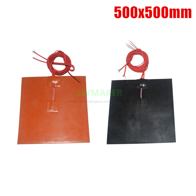 500x500mm Orange / Black Color 3D Printer Heat Bed 1000W Silicone Rubber Heater 500*500mm Electric Heating Pad
