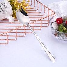 8.5in Long Handle Spoon Tableware 304 Stainless Steel Fork Western Food Noodles Salad Spoons Kitchen Tools