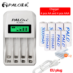 PALO 4 Slots Smart LCD Intelligent AA AAA Rechargeable Battery Charger with 1.2V Ni-MH NiMH Ni Mh AA AAA Rechargeable Battery