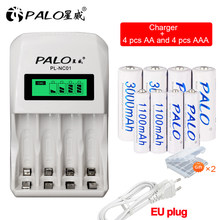 PALO – chargeur de batterie Intelligent avec écran LCD, 4 emplacements, piles rechargeables, AA, AAA, 1.2V, Ni-MH, NiMH, Ni Mh, AA, AAA