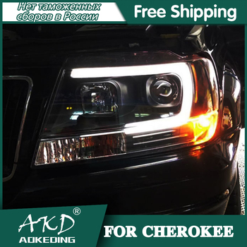 Headlights For Car Jeep Grand Cherokee 1999-2004 Day Running Light Head Lamp LED Bi Xenon Bulb Fog Light Tuning Car Accessory