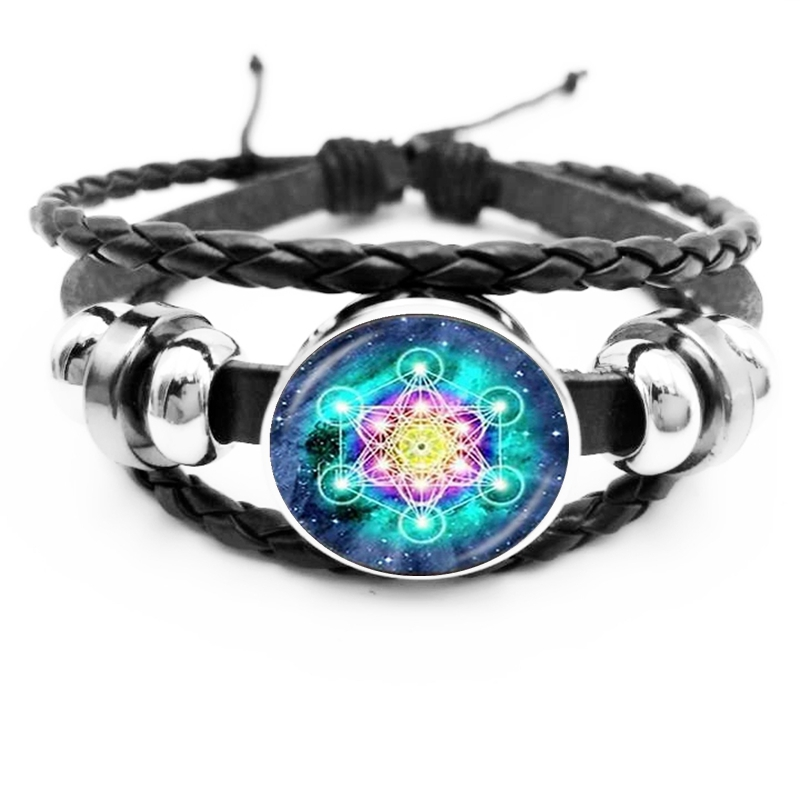 2019 New Hot Vintage Classic Buddhist Chakra Glass Round Men 39 s Leather Bracelet Indian Yoga Mandala Bracelet in Charm Bracelets from Jewelry amp Accessories