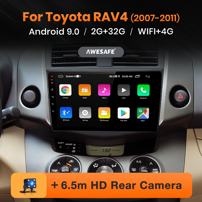 Awesafe PX9 Voor Toyota RAV4 Rav 4 2005-2013 Auto Radio Multimedia Video Player Gps Geen 2 Din Android 9.0 2Gb + 32Gb