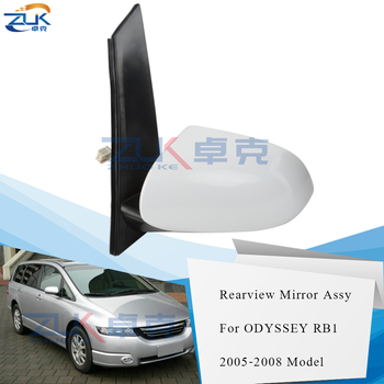 ZUK 5-PINS Heated Outer Rearview Side Mirror Assy For HONDA ODYSSEY RB1 2005 2006 2007 2008 Bule Lens Type White Lens Type