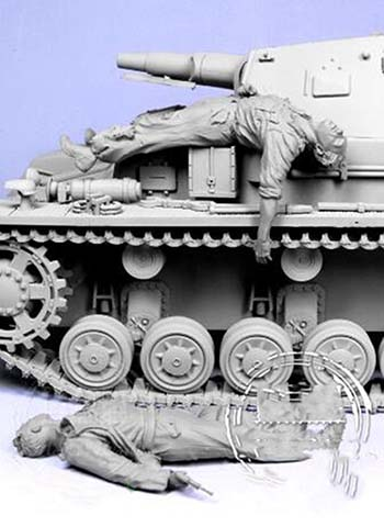 Assembly  Unpainted  Scale 1/35 Escaping Tank Crew   Figure Historical Resin Model
