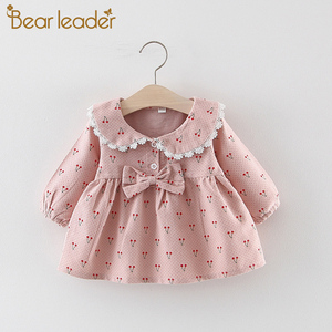 Bear Leader Baby Girl Clothes 2020 Newborn Baby Autumn Cute Dress Kids Solid Cherry Print Dresses with Bowknot Princess Dress(China)