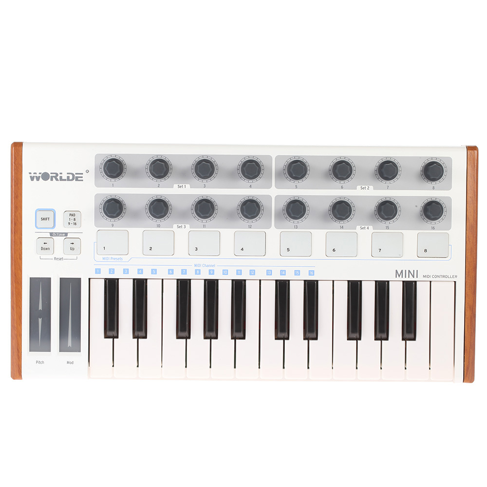 WORLDE MIDI Controller New Ultra-Portable 25-Key Musical Keyboard Synthesizer Piano Two Types Of Support Midi Keyboard