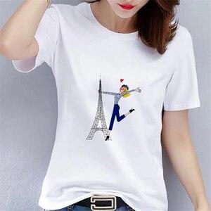 Kawaii Women's Tower Printed Graphic T-Shirt Women's Casual Short Sleeve Top White O-Neck Women's T-Shirt Summer Women's T-shirt