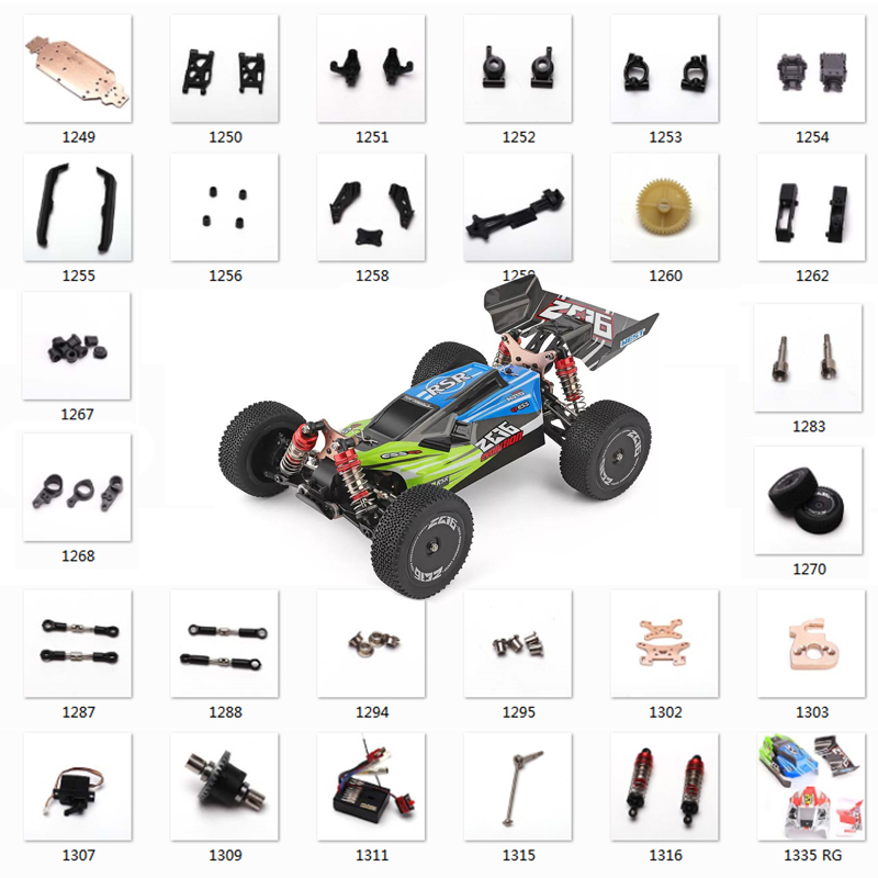 WLtoys 144001 1/14 RC Car Spare Parts Swing Arm C Seat Vehicle Bottom Motor Reduction Gear Cover Shock Absorbers Tire Plastic
