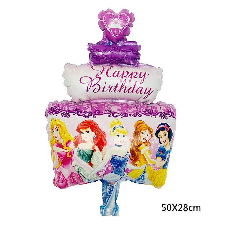 1 шт., шары из фольги для принцессы, 50x28 см, с днем рождения, украшения из воздушных шаров на день рождения, Детские шары