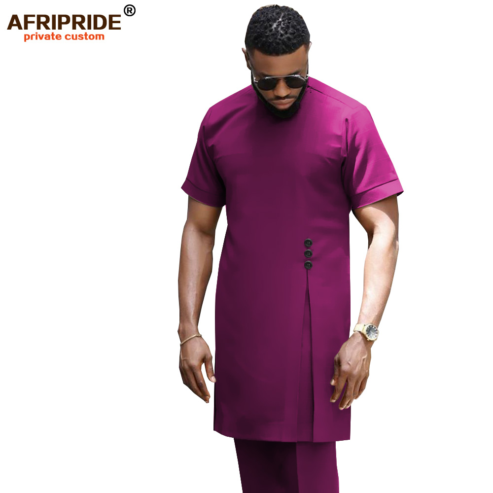 2019 African Men Clothing Traditional Set Dashiki Shirt And Ankara Pants Formal Outfit Blue Suit Tracksuit AFRIPRIDE A1916025