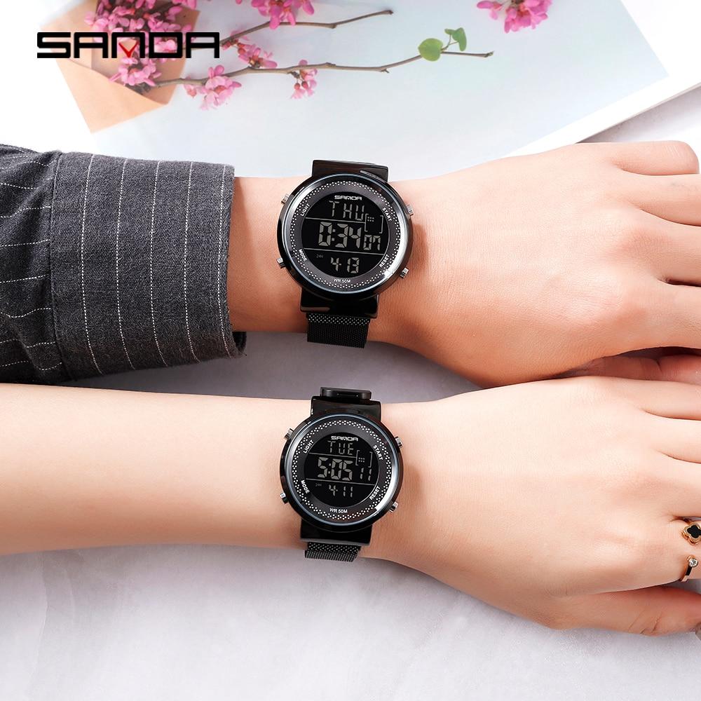 Sanda New 2019 Digital Watch Magnet Buckle Men's Sports Watch Ladies Couple Watches Pair Men And Women часы мужские наручные