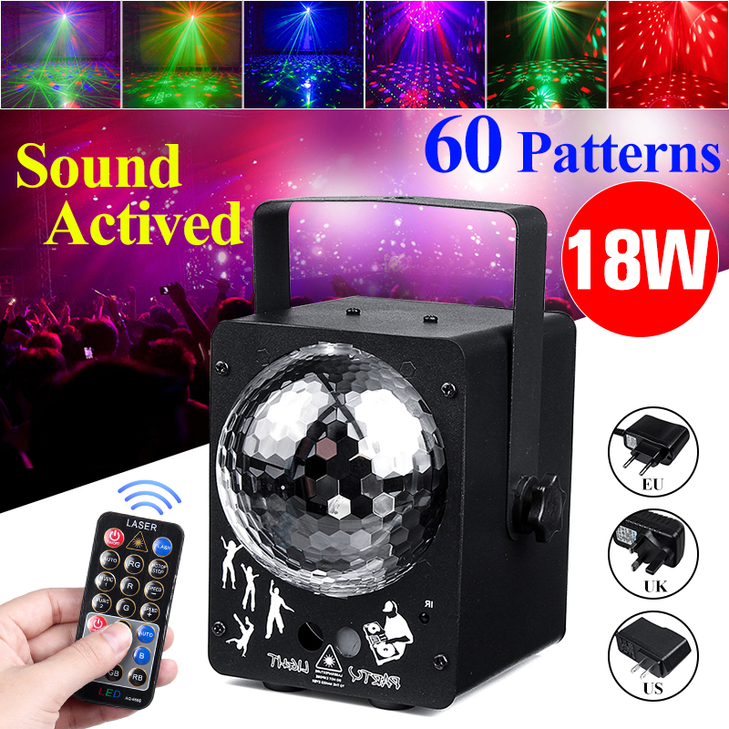 60 Pattern Sound Activated Disco Ball Party Lights Strobe Light 18W RGB LED  Lights For Christmas Home KTV Wedding Show